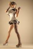 Modelo no vestido e no cabelo da expressão fotografia de stock royalty free