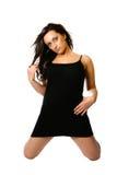 Modelo no vestido preto Imagem de Stock Royalty Free
