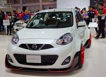 Modelo novo de Nissan March apresentado na exposição automóvel Foto de Stock