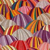Modelo ondulado bordado inconsútil Prados y campos sembrados Ornamento pintado a mano del remiendo Adornos étnicos y tribales boh stock de ilustración