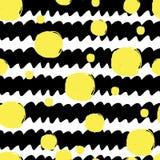 Modelo ondulado rayado inconsútil del cepillo de la textura, diverso tamaño de los círculos amarillos Negro en el fondo blanco Il libre illustration