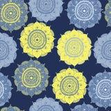 Modelo oriental a mano abstracto inconsútil del doddle, amarillo, y color azul stock de ilustración