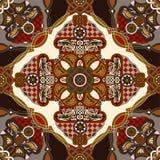 Modelo ornamental de la teja del vector Diseño cuadrado colorido, estilo étnico stock de ilustración