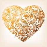 Modelo ornamental del corazón del oro Fotos de archivo libres de regalías