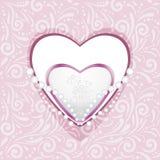 Modelo ornamental rosado con los corazones y los diamantes para el libro de recuerdos Imagen de archivo libre de regalías