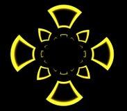 Modelo ornamental simétrico abstracto de la cruz amarilla Foto de archivo libre de regalías