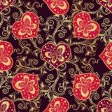 Modelo oscuro inconsútil de la tarjeta del día de San Valentín con los corazones púrpuras stock de ilustración