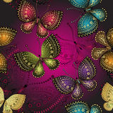 Modelo púrpura oscuro de la primavera inconsútil stock de ilustración