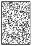 Modelo para el libro de colorear Fondo blanco y negro con floral, étnico, elementos dibujados mano para el diseño stock de ilustración