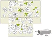 Modelo para el rectángulo de regalo con las flores Imagen de archivo