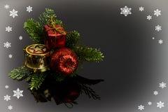 Modelo para la tarjeta de Navidad Foto de archivo libre de regalías