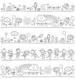 Modelo para los niños con los elementos lindos de la naturaleza ilustración del vector
