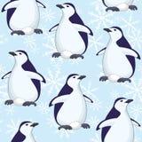 Modelo, pingüinos y copos de nieve inconsútiles ilustración del vector