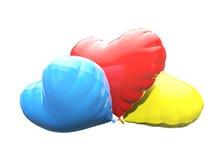Modelo plástico colorido dos corações 3d Fotos de Stock Royalty Free
