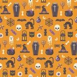 Modelo plano de los iconos de Halloween en fondo anaranjado libre illustration