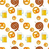 Modelo plano incons?til de la comida tradicional de Oktoberfest Iconos del festival de la cerveza de Oktoberfest S?mbolo de Oktob ilustración del vector