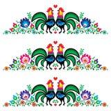 Modelo polaco del bordado de flores con los gallos Fotos de archivo