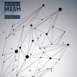 Modelo poligonal del web del vector de la estructura abstracta 3D Fotografía de archivo libre de regalías