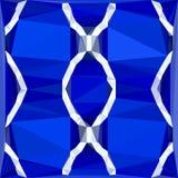 Modelo poligonal vertical con el ornamento étnico geométrico del puerto deportivo azul Foto de archivo libre de regalías