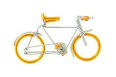 Modelo prendido da bicicleta isolado no fundo branco Imagens de Stock Royalty Free