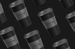 Modelo preto do copo de café do teste padrão no fundo imagem de stock