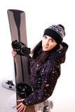 Modelo profesional con el snowboard. Imagen de archivo libre de regalías
