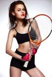 modelo profesional de la mujer del jugador de tenis con brillante Foto de archivo