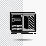 Modelo, projeto, desenho, plano, ícone do Glyph do protótipo no fundo transparente ?cone preto ilustração royalty free
