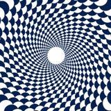 Modelo psicodélico, túnel, espiral de las bolas, azul geométrico y ilustración del vector