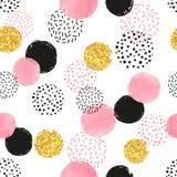 Modelo punteado inconsútil con los círculos rosados, negros y de oro Foto de archivo