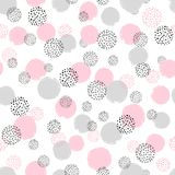 Modelo punteado inconsútil con los círculos rosados y grises stock de ilustración