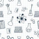 Modelo químico inconsútil Cristalería y reactivo químicos Elementos a mano Diseño plano Vector Fotografía de archivo libre de regalías