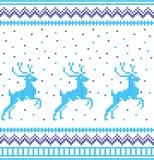 Modelo que hace punto de las vacaciones de invierno con árboles de navidad Diseño del suéter de la Navidad que hace punto Textura fotografía de archivo libre de regalías