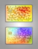 Modelo realístico ajustado do cartão de banco do crédito do vetor Arco-íris, multicolorido, amarelo, borboleta, flores, amarelo,  Fotos de Stock