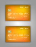 Modelo realístico ajustado do cartão de banco do crédito do vetor Azul, malha, frio, roxo, fluindo Amarelo, alaranjado, malha, fr Imagem de Stock