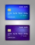 Modelo realístico ajustado do cartão de banco do crédito do vetor Azul, quadrado, roxo, pontos, reticulação Fotos de Stock