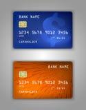 Modelo realístico ajustado do cartão de banco do crédito do vetor Halfton, dólar, sinal, azul, laranja, raios, triângulos Imagem de Stock