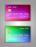 Modelo realístico ajustado do cartão de banco do crédito do vetor Multicolorido, arco-íris, transborda o rosa, lilás, azul, verde Imagens de Stock