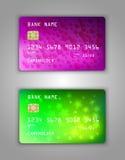 Modelo realístico ajustado do cartão de banco do crédito do vetor Reticulação, verde, lilás, azul, roxo, corações, amarelo, flore Fotos de Stock