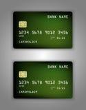 Modelo realístico ajustado do cartão de banco do crédito do vetor Verde, malha, frio, roxo, fluindo Fotografia de Stock