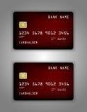 Modelo realístico ajustado do cartão de banco do crédito do vetor Vermelho, malha, frio, roxo, fluindo Foto de Stock