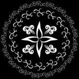 Modelo redondo adornado, dibujado con un cepillo Logotipo, emblema, elemento libre illustration