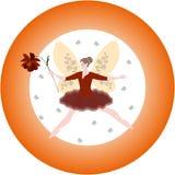 Modelo redondo con la flor coa alas de la hada y del cosmos ilustración del vector