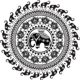Modelo redondo con los elefantes adornados stock de ilustración