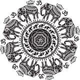 Modelo redondo con los elefantes adornados ilustración del vector