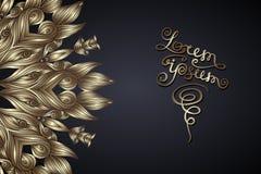 Modelo redondo del cordón en oro en un fondo oscuro con remolinos stock de ilustración