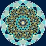 Modelo redondo del universo Quasicrystal en la forma de la mandala de la flor con el sol, las estrellas, la luna y los planetas I stock de ilustración