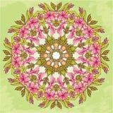 Modelo redondo - fondo floral abstracto Fotografía de archivo