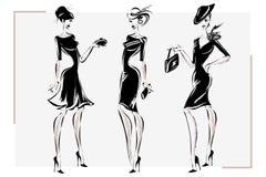 Modelo retro blanco y negro de la mujer de la moda Mano drenada Imagen de archivo libre de regalías