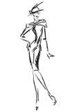 Modelo retro blanco y negro de la mujer de la moda Mano drenada Fotos de archivo libres de regalías